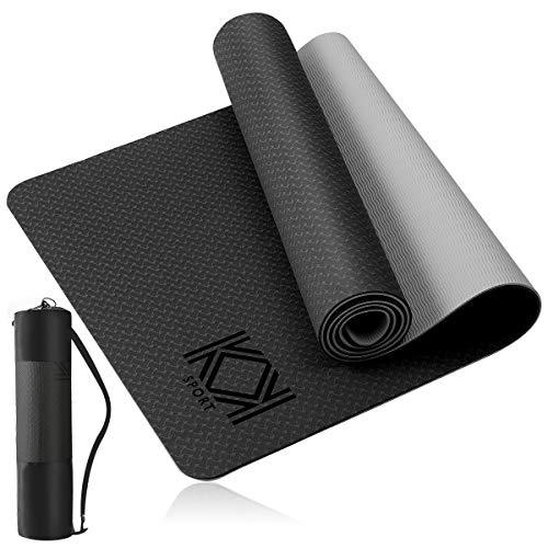 KK Yoga Mat, Non Slip Exercise Mat Black, Extra Grip TPE Eco Friendly Workout Mat with convenient...