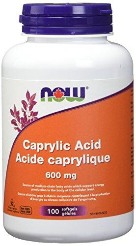 NOW Caprylic Acid 600mg 100 Softgels, 50 g