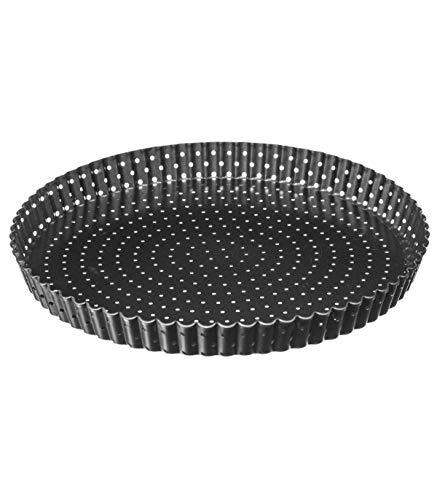 1 x Moule à Tarte Perforé, Moule à Quiche, Moule à Gâteau Rond, Revêtement Anti adhésif, Fond Amovible (Diamètre 28 cm)
