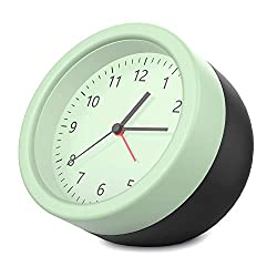 MoKo Storage Alarm Clock, Simple Design Silent Sweep Non Ticking Dual Color Little Clock, Battery Alarm Clock with Clear Pointers Scales for Living Room, Bedroom, Office - Light Green + Black