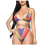 Berimaterry Bikini Sexy BañAdores Conjuntos de Traje de Baño Verano Bohemio Dividido BañAdores con Relleno Tops y Braguitas Mujer brasileños vikinis Playa Fiesta Ropa de Baño