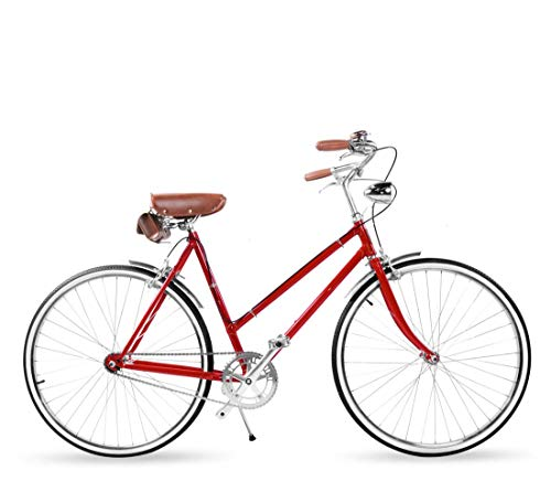 AISHFP Adult Women Retro Lightweight Commuter Bike, City Electroplating Road 700C Bikes, 3-Speed Student Casual Bicycle with Front Basket and Back Shelf,C
