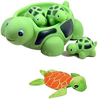 New! Cute Set Of Turtle Family Bath Set (set of 4) - Bath Tub Toy + 6