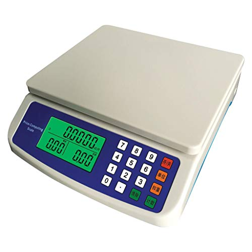 ZCXBHD Elektronische weegschaal, 0/30 kg, prijsschaal met 3,7 volt lithium batterij, Chinees en Engels, met adapter 9.15