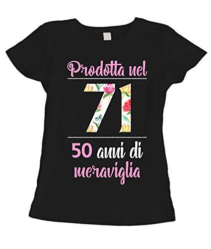 fashwork T-Shirt Maglietta Compleanno Regalo Donna 50 Anni Prodotta nel 1971, 50 Anni di meraviglia - Flower - Summer - Idea Regalo
