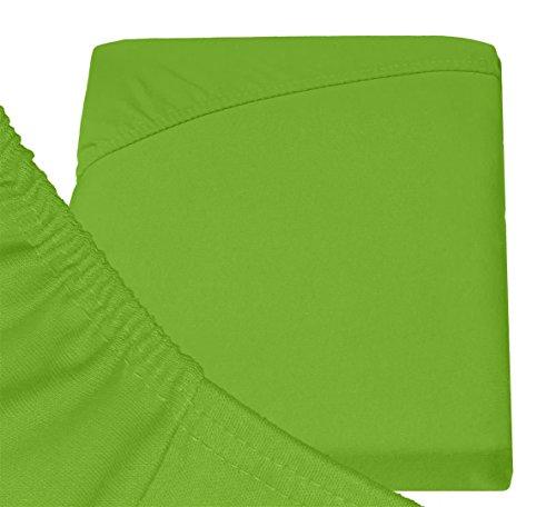 Double Jersey – Spannbettlaken 100% Baumwolle Jersey-Stretch bettlaken, Ultra Weich und Bügelfrei mit bis zu 30cm Stehghöhe, 160x200x30 Lime - 6