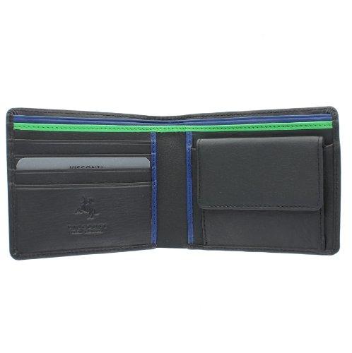 Visconti Portafoglio da uomo in pelle. Collezione Bond'M' Blocco RFID BD10 Nero/Cobalto/Verde