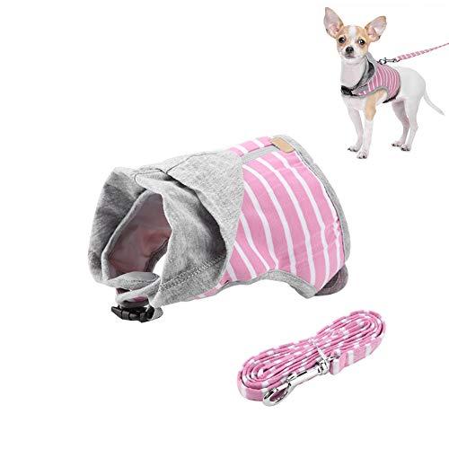Cat harnas en leisteen, verstelbaar ontsnappingsbewijs kat kitty hond harnas zachte ademende capuchon kat vest harnas en leeuwen set geweldig voor wandelen, Pink S
