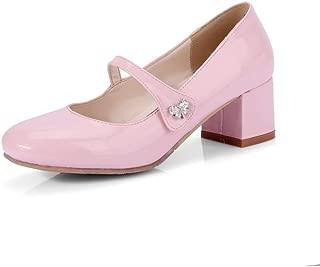 Veveca Women Square Toe Slip On Leather Low Heel Retro Uniform Dress Loafer Shoes Mary Jane Oxford Pump