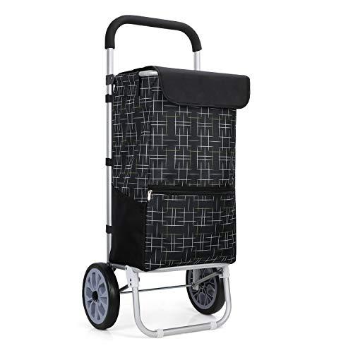 YOOKEA Einkaufswagen Einkaufstrolley Klappbar Einkaufs Trolley mit 2 Rollen 46 Liter Shopping Trolley Einkaufsroller mit 600D Wasserdichtem Oxford-Stoff Stabiler Einkaufshilfe,Schwarz