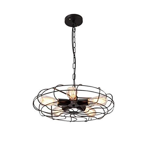SGWH / E27 × 5 ventilator-hanglamp industriële minimalistische zwarte ronde hanglamp metalen piercing-lampenkap vintage Mood Loft hanglamp in hoogte verstelbaar Ø 45 cm max. 60 watt eetzaal.