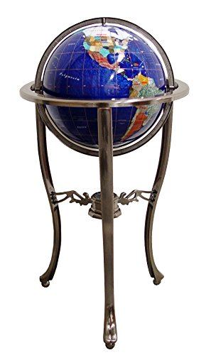 """Unique Art Since 1996 Brand 37"""" Tall Bahama Blue Pearl Swirl Ocean Floor Standing Gemstone World Globe with Tripod Silver Stand and 50 US State Stones"""
