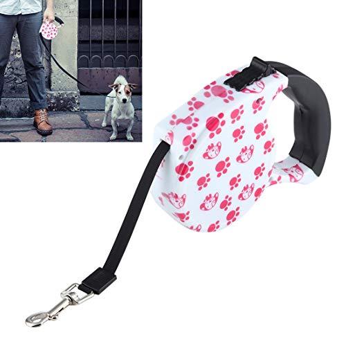 LJYNB Pet riem 5m Roze Hond Voetafdruk Patroon Eenvoudige bediening Intrekbare Hond Leash(Pink) Kom uit veilig en mooi
