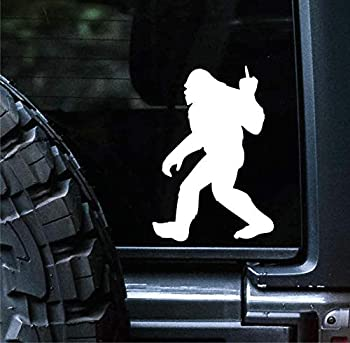 Sunset Graphics & Decals Big Foot Middle Finger Decal Vinyl Car Sticker Sasquatch Funny   Cars Trucks Vans Walls Laptop   White   6 inches   SGD000148