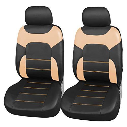 Upgrade4cars Coprisedili Anteriori Auto Universali Eco-Pelle Nero Beige Set Copri-Sedile Universale per Guidatore e Passeggero con Airbag Laterali Accessori Auto Interno