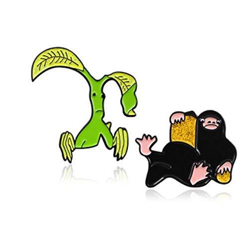 wangk Niffler y Pickett Bowtruckle Broche Dibujos Animados fantasía Animal Criatura Bestia Magic película Pin Denim Lapel Insignia Fans Regalos Set