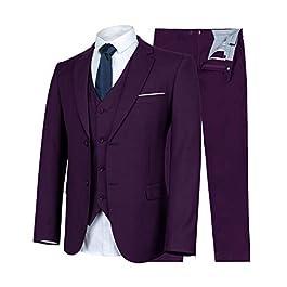 FTIMILD Men's Business Suits 3-Piece Suits Slim Fit Blazer Jacket Trousers & Tux Vest