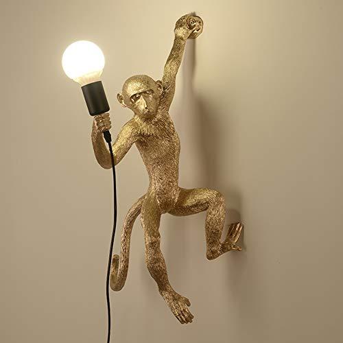 Personalità Creativa Lampada Da Parete in Stile Retrò Industriale Cafe Bar Lampada Da Parete Soggiorno Lampada Camera Da Letto Lampada Ristorante Lampada Da Parete A Forma Di Scimmia E27,D'oro