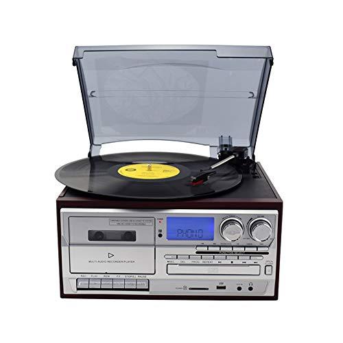DAMAI STORE Tres Velocidades De Múltiples Funciones De Radio Reproductor De Cinta De La Máquina Tocadiscos De Vinilo Moderna Multifunción CD USB Bluetooth Altavoz Incorporado (Color : Silver)