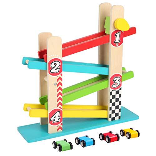TOYANDONA Autorennbahn Rennspielset Rennstrecke Autogeschenke für Jungen Parkhaus Spielzeug mit Holzautorampe Frühes Lernspielzeug für Kinder