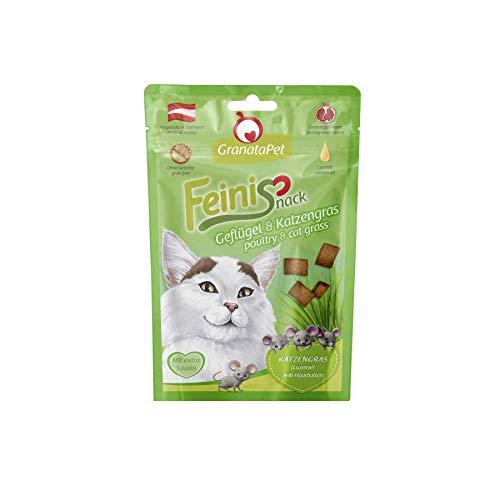 GranataPet FeiniSnack Geflügel und Katzengras, Schmackhafter Snack für Katzen, Ergänzungsfuttermittel, ohne Getreide & ohne Zuckerzusätze, 50g