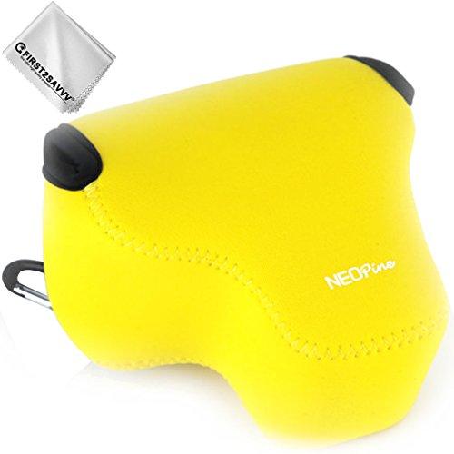 First2savvv Gelb Flexible Neopren DSLR/SLR Kameratasche für Nikon COOLPIX P610 P600 P530 P520 P510 P500 + Reinigungstuch - QSL-P520-13G11
