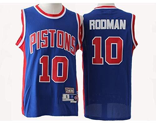 JAG Maglia da Uomo NBA Pistons # 10 Rodman Blu/Bianco Retro all-Star Jersey, Tessuto Traspirante Fresco, Maglia da Basket Sportiva Senza Maniche Unisex Top, Blu, L: 180 cm / 75~85 kg
