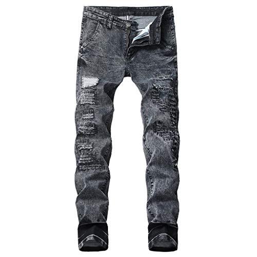 cinnamou Jeans Herren Stretch Jeans Ripped Jeans Zerrissene Jeans Loch Jeans Zip Jeans Slim Fit New Buntfalten Hosen Pash Jeans Lange Mode
