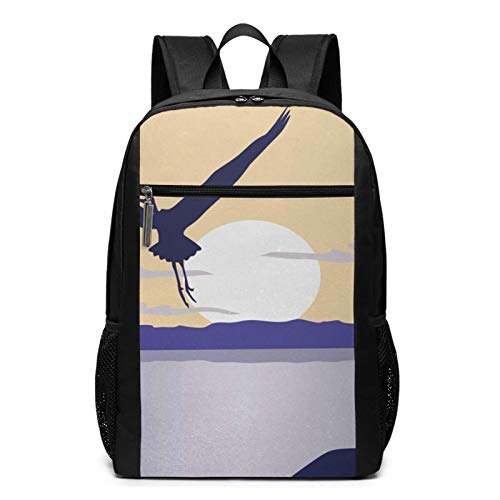 School Backpack Flying Bird Horizon Sun, College Book Bag Business Travel Daypack Casual Rucksack for Men Women Teenagers Girl Boy