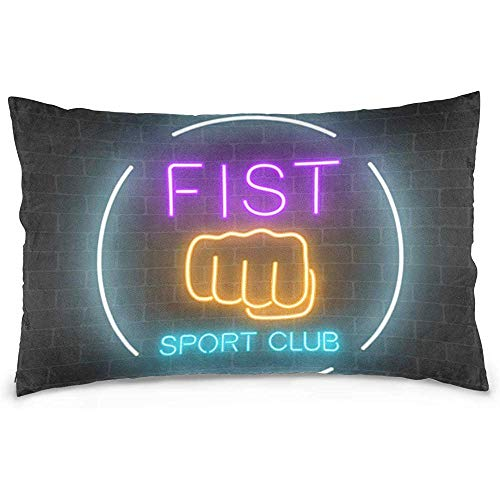 Jupsero Fundas de Almohada Neon Fighting Sport Club Funda de Almohada Sofá Cama Throw Pillow Cover Algodón Cremallera 20x26 Pulgadas