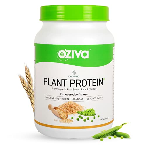 OZiva Organic Plant Protein (30g Vegan Protein - Pea protein Isolate, Brown Rice Protein & Quinoa, Soy free) for Everyday Fitness, Unflavored, 1kg