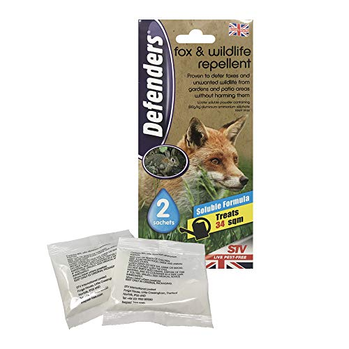 Defenders Fox and Wildlife Repellent (Humane Fox, Rabbit and Bird Deterrent, Treats up to 50 sq m, Use on Lawns, Gardens, Flowerbeds and Patio Areas) - 2 x 50 g Sachets