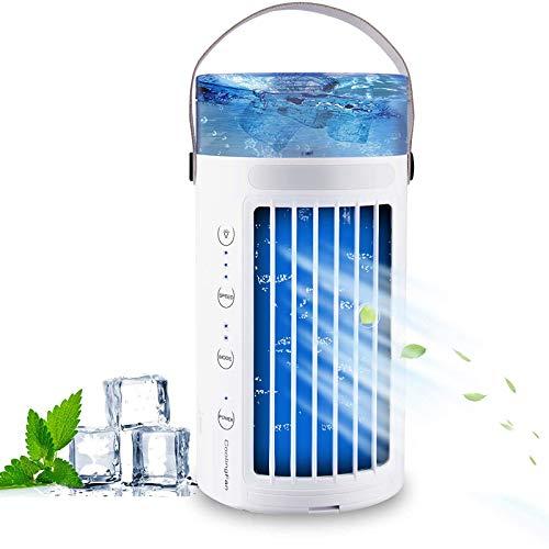 HZWZ Acondicionador de Aire portátil, humidificador, refrigerador USB Mini acondicionador evaporativo con luz Nocturna, purificadores súper tranquilos, Ventilador de Niebla