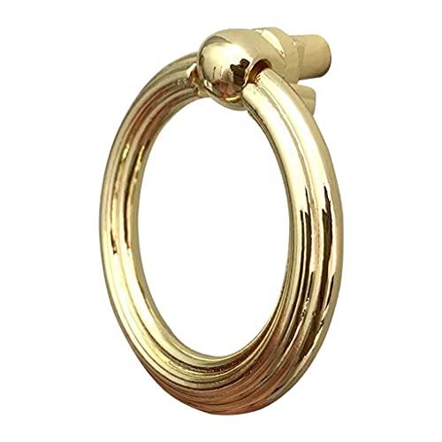 LOVIVER Maniglie per armadietto spazzolato oro Maniglie per cassetti ad anello rotondo, anello per maniglia in lega di zinco a foro singolo per armadio per