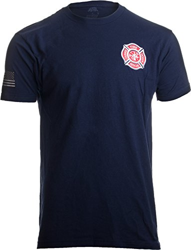 Firefighter Maltese Cross | Fire Fighter Rescue Courage Honor Red Line T-Shirt-(Navy,XL)