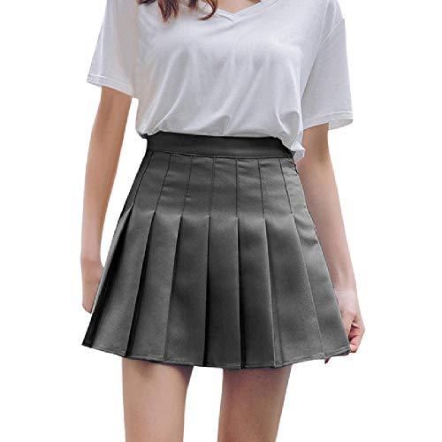 N\P Falda de satn plisada de verano de cintura alta plisada mini falda de las mujeres de cintura delgada casual
