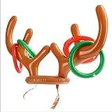 Anillo de cabeza de ciervo inflable Anillo de lanzamiento Juguete Niños Deportes de ocio al aire libre Exquisita decoración navideña - Marrón