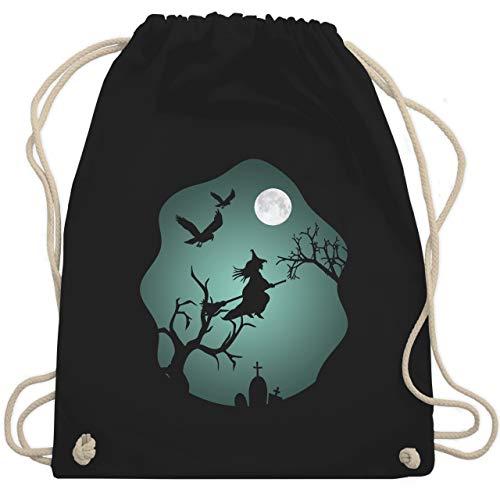 Shirtracer Halloween - Hexe Mond Grusel Grün - Unisize - Schwarz - halloween rucksack - WM110 - Turnbeutel und Stoffbeutel aus Baumwolle