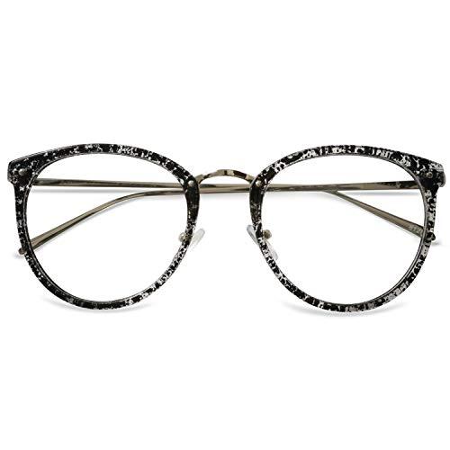 KOOSUFA Retro Nerdbrille Damen Herren Brillengestelle Brille Ohne Sehstärke Rund Klassische Pantobrille Brillenfassung Fake Brille Vintage mit Brillenetui (Schwarz-weiß)