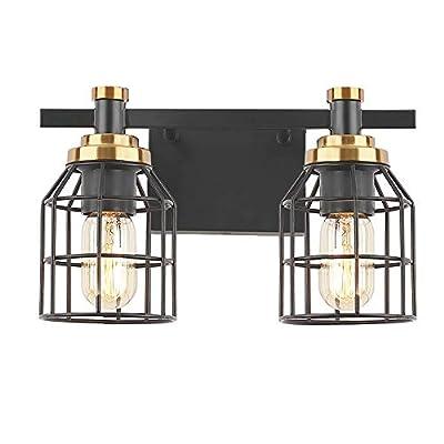 2-Light Bathroom Vanity Light, Industrial Wall Sconce Bathroom Lighting for Vanity Cabinets Table, Matte Black Finish, Brass Accent Socket, Metal Cage Shade E26
