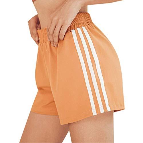 Pantalon De Fitness pour Femme Course Sportive Short De Sport à Séchage Rapide Short De Sport à Rayures Anti-Marche pour Femme Bleu M