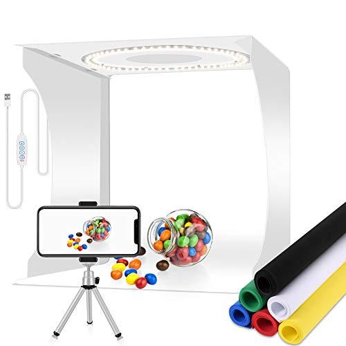 Photo Light Box Studio fotografico pieghevole con luci LED a 3 colori commutabili per piccoli oggetti Scatola luminosa fotografica portatile da 12 pollici