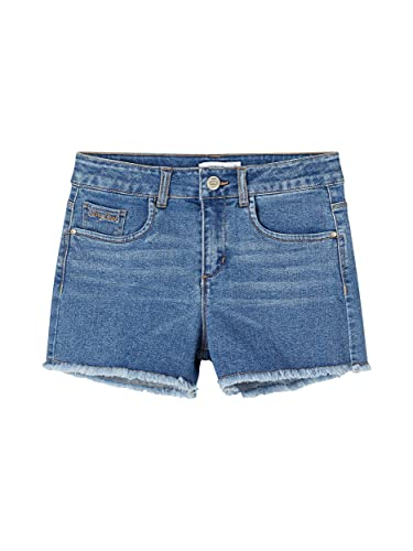 NAME IT Mädchen High Waist Jeans Shorts Medium Blue Denim 164