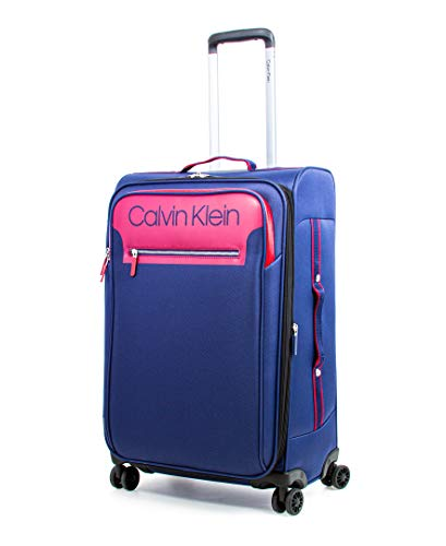Calvin Klein Flare Softside Spinner Luggage, Navy/Red, 25 Inch