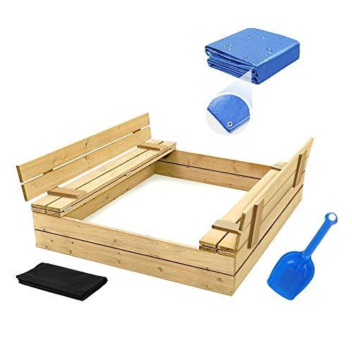 Sandkasten mit Deckel Sandbox 120x120 Sandkiste mit Sitzbänken Holz Spielzeug