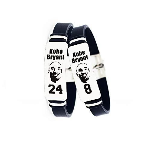 Lorh's store NBA Jugador de Baloncesto Estrella Inspirador Logotipo Personal Ajustable Pulseras de Acero Inoxidable Equilibrio de energía Deporte Pulsera de Silicona 2 Piezas (Kobe Bryant)