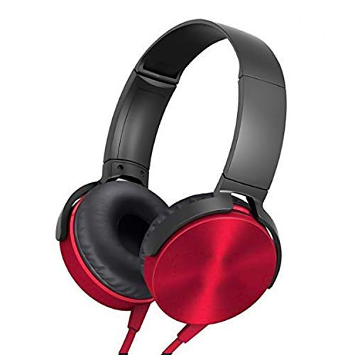 Modish Super Extra Bass Wired Headphone with Mic On-Ear-Headphone and Compatible with All Mobiles & Desktop - Red