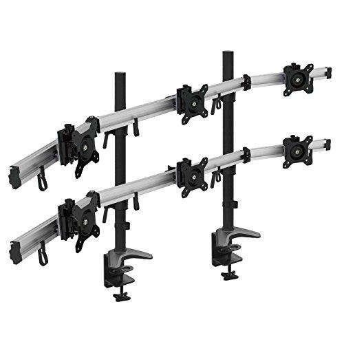 HFTEK 6-Fach Monitorarm - Tischhalterung für 3+3 Bildschirme von 15 – 27 Zoll mit VESA 75/100 (MP260C-N)