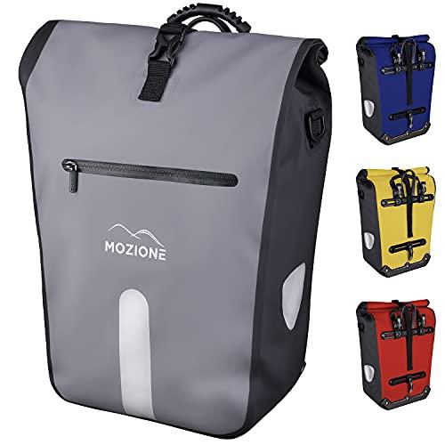 Mozione® Fahrradtasche wasserdicht 25L – Gepäckträgertasche grau-schwarz mit Schultergurt, Tragegriff & 15 Zoll Laptopfach – Hinterradtasche als hochwertiges Fahrrad Zubehör