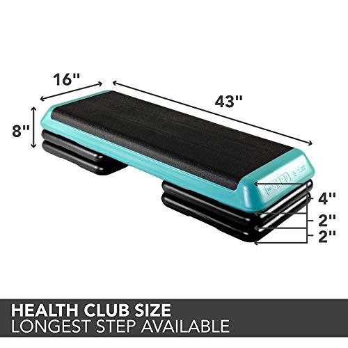 The Step Original Aerobic Platform – Health Club Size – With Four Original Risers (Teal/Purple with Black)